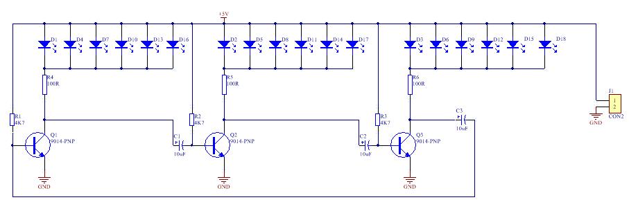 本套件含有18只七彩LED,分成三组,排列成一个 心形图案,并由三极管振荡电路驱动,使红色的心形图案不断的按顺时针方向旋转闪亮,特别是在夜间使用时,极富动感。 工作原理:从原理图上可以看出,接3-5V电源时,18只LED被分成3组,每当电源接通时,3只三极管会争先导通,但由于元器件存在差异,只有有一个三极管最先导通,这里假设Q1最先导通,则LED1这一组点亮,由于Q1导通,其集电极电压下降使得电容C2左端下降,接近0V,由于电容两端的电压不能突变,因此Q2的基极也被接到近似0V,Q2截止,故接在其集电极